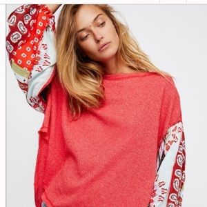 Free People blossom ballon sleeve thermal sweater